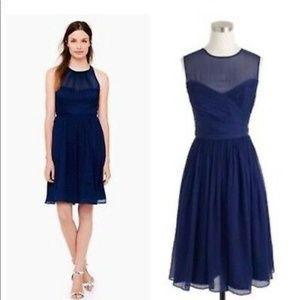 J.Crew Navy Silk Chiffon Clara 09726 Dress